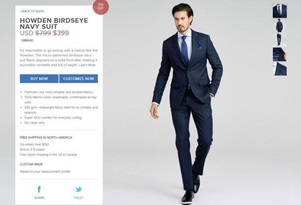 Indochino Howden Birdseye Navy Suit